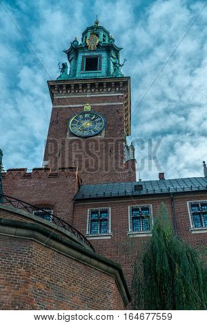 Wawel - Royal castle over the Vistula River in Krakow. Poland