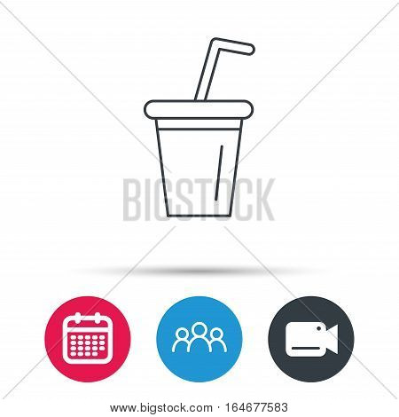 Soft drink icon. Soda sign. Group of people, video cam and calendar icons. Vector