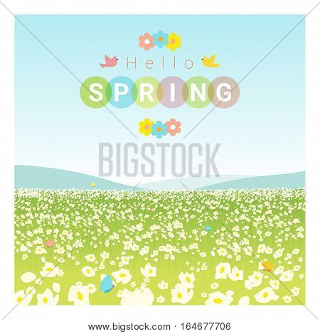 Hello spring landscape background , vector , illustration