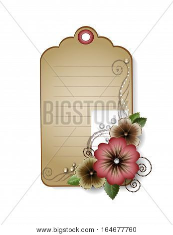 vintage card with flowers paper tag with swirles