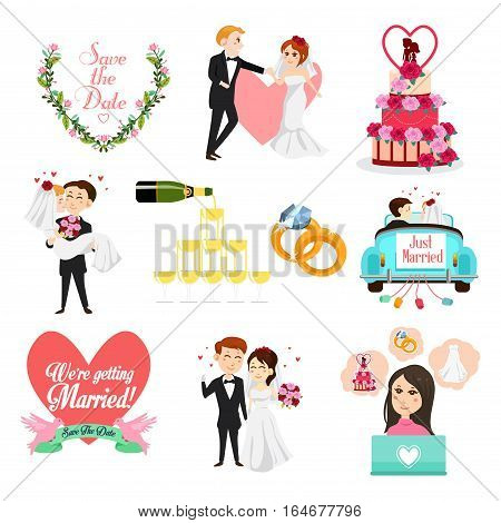 A vector illustration of Wedding Celebrations Icons and Cliparts