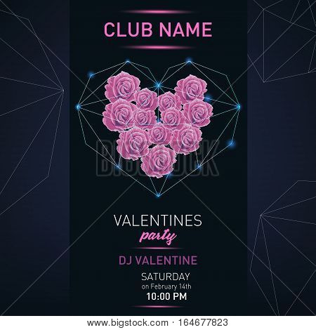 Vector Valentines Day night party flayer. Light effect. Poster Design Template.