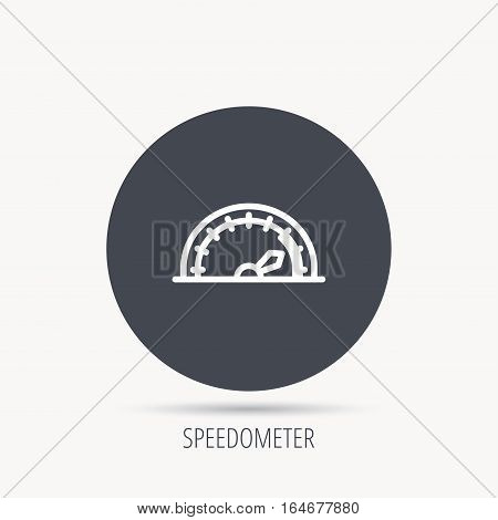 Speedometer icon. Speed tachometer with arrow sign. Round web button with flat icon. Vector