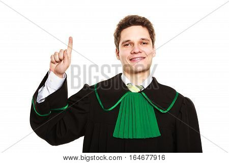 Understanding and explaining sending clear message. Young lawyer wear polish toga and shows hand sign. Man makes gesture hold one finger in air.