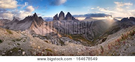 Panoramic view of Monte Paterno / Paternkofel and the Tre Cime di Lavaredo / Drei Zinnen, Dolomites at sunset, Italy