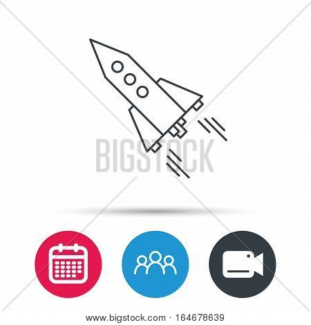 Startup business icon. Rocket sign. Spaceship shuttle symbol. Group of people, video cam and calendar icons. Vector