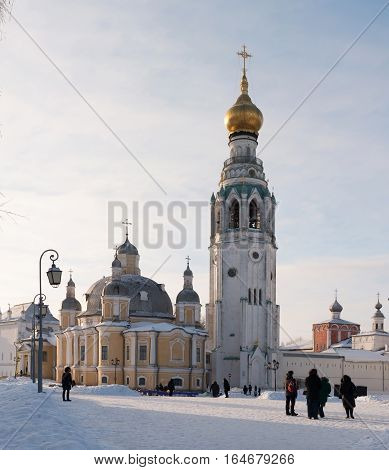 Vologda kremlin. Journey to the North of Russia. Resurrection Cathedral and bell tower Vologda Kremlin Russia. Photo in frosty sunny winter day. HD.