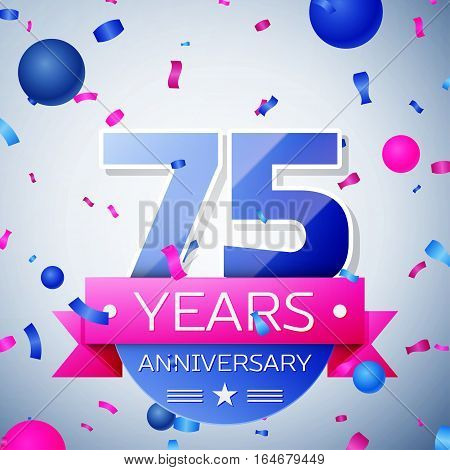 Seventy five years anniversary celebration on grey background. Anniversary ribbon