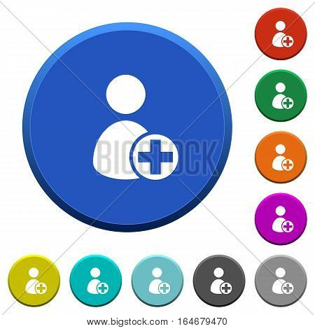 Add new user round color beveled buttons with smooth surfaces and flat white icons