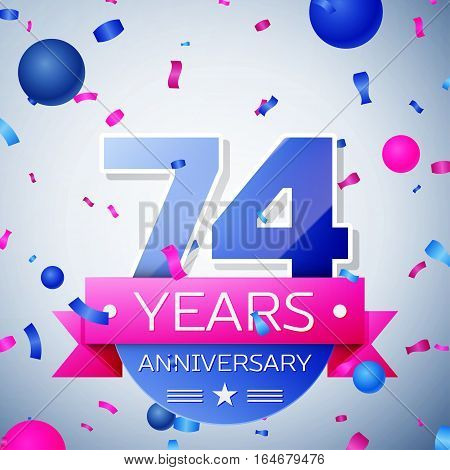 Seventy four years anniversary celebration on grey background. Anniversary ribbon