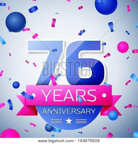 Seventy six years anniversary celebration on grey background. Anniversary ribbon