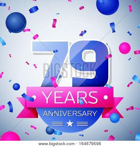 Seventy nine years anniversary celebration on grey background. Anniversary ribbon