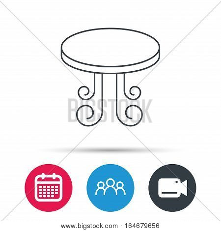 Vintage table icon. Furniture desk sign. Group of people, video cam and calendar icons. Vector