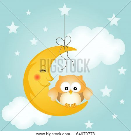 Good night card with moon and cute owl