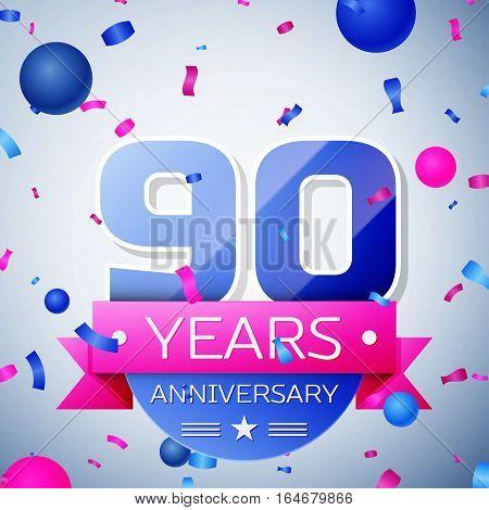 Ninety years anniversary celebration on grey background. Anniversary ribbon