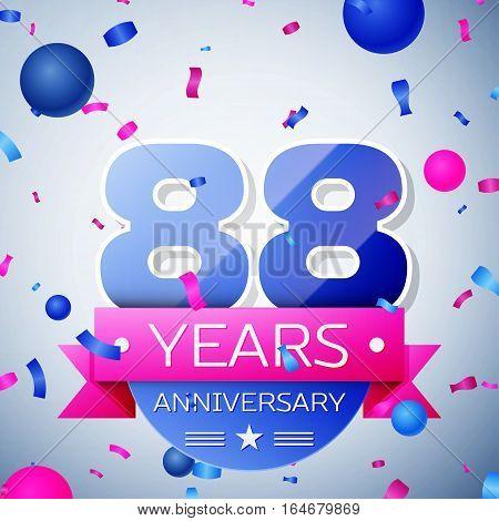 Eighty eight years anniversary celebration on grey background. Anniversary ribbon