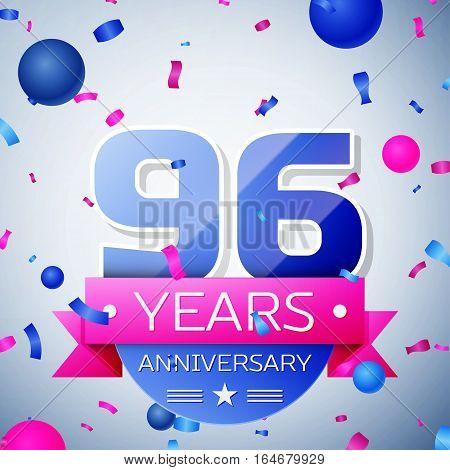 Ninety six years anniversary celebration on grey background. Anniversary ribbon