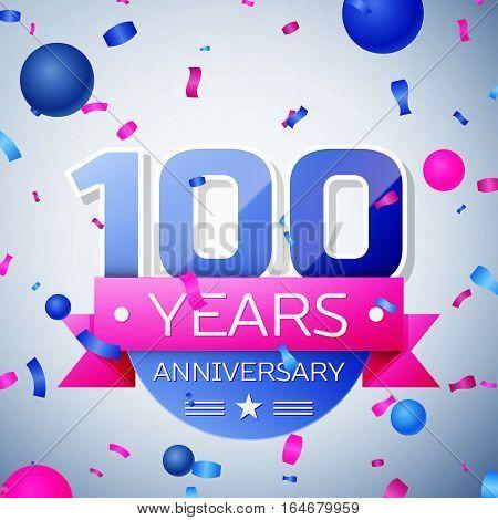 Hundred years anniversary celebration on grey background. Anniversary ribbon