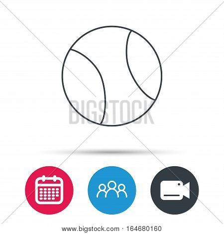 Tennis equipment icon. Sport ball sign. Team game symbol. Group of people, video cam and calendar icons. Vector