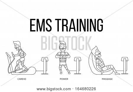 Ems workout stages. Electric muscular stimulating fitness vector illustration