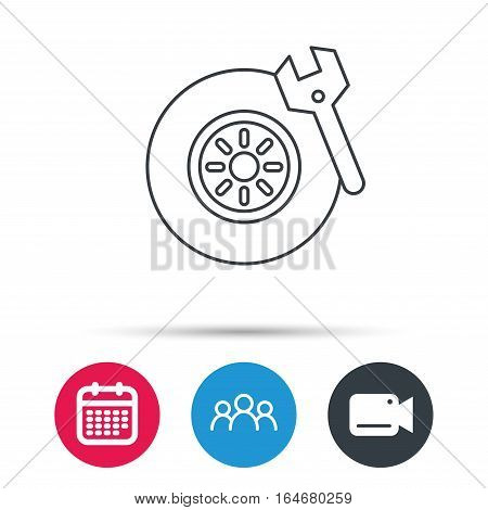 Tire service icon. Wheel and wrench key sign. Group of people, video cam and calendar icons. Vector