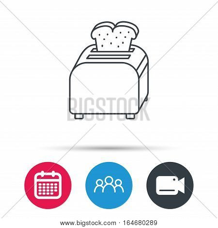 Toaster icon. Sandwich machine sign. Group of people, video cam and calendar icons. Vector