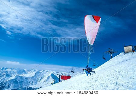 Winter in Greater Caucasus Mountains. Gudauri Georgia (country). Paragliding