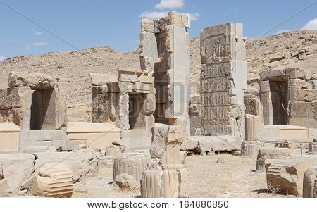 PERSEPOLIS, IRAN - OCTOBER 6, 2016: Ruins of the ancient city of Persepolis, historical site close to Shiraz on October 6, 2016 in Iran, Asia