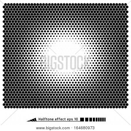 Vector. Halftone Pattern Effect. No Gradient. Hexagon, Honeycomb