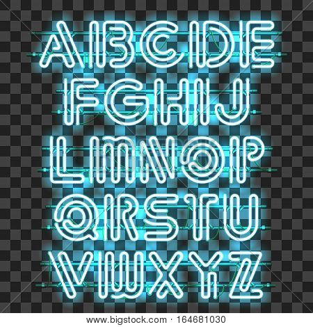 Glowing blue Neon Alphabet with letters from A to Z. Shining and glowing neon effect. Every letter is separate unit with wires tubes brackets and holders that can be combined with other.