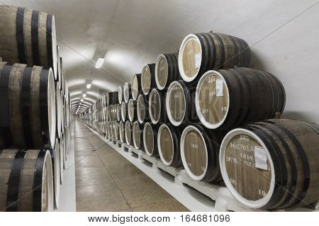 RUSSIA, CRIMEA, YALTA - may 29.2014:  Barrels of wine in cellar storage Massandra winery
