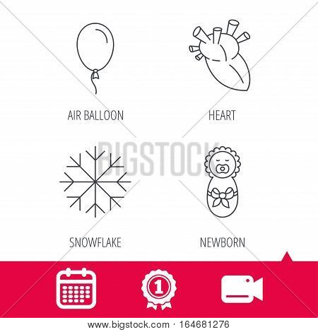 Achievement and video cam signs. Newborn, heart and air balloon icons. Snowflake linear sign. Calendar icon. Vector