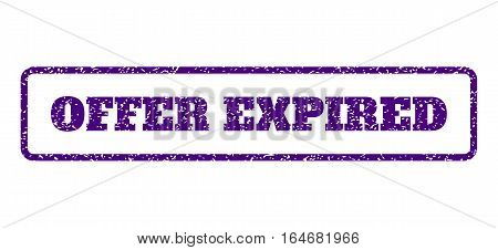 Indigo Blue rubber seal stamp with Offer Expired text. Vector message inside rounded rectangular shape. Grunge design and scratched texture for watermark labels.