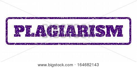Indigo Blue rubber seal stamp with Plagiarism text. Vector tag inside rounded rectangular frame. Grunge design and dirty texture for watermark labels. Horisontal sticker on a white background.