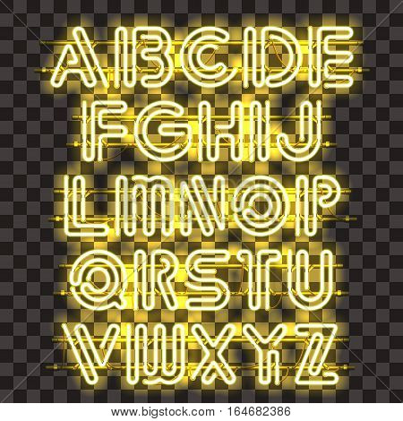 Glowing Yellow Neon Alphabet with letters from A to Z. Shining and glowing neon effect. Every letter is separate unit with wires, tubes, brackets and holders that can be combined with other.