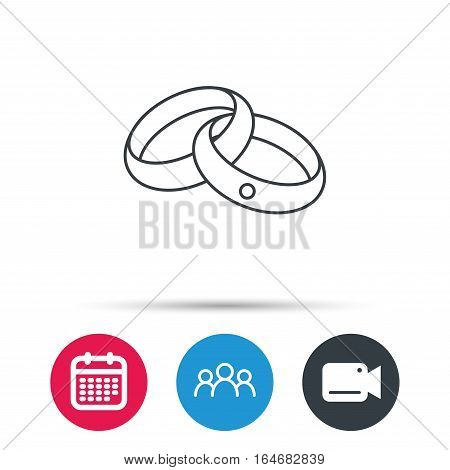 Wedding rings icon. Bride and groom jewelery sign. Group of people, video cam and calendar icons. Vector
