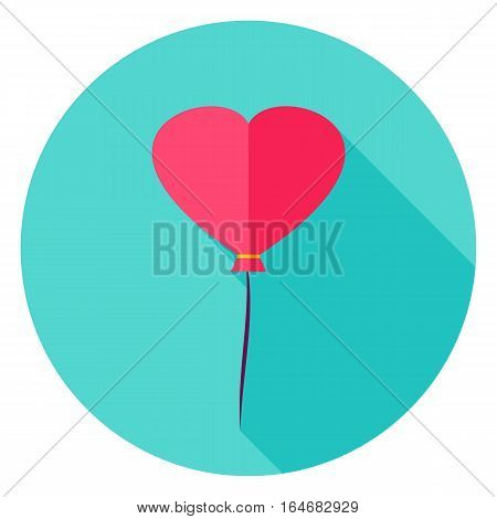 Heart Balloon Circle Icon. Flat Design Vector Illustration with Long Shadow. Happy Valentine Day Symbol.