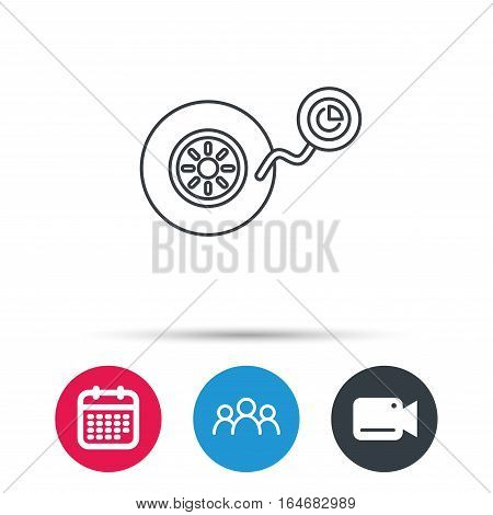 Wheel pressure icon. Tire service sign. Group of people, video cam and calendar icons. Vector