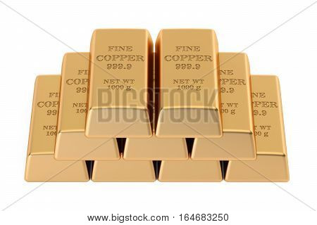 copper ingots 3D rendering isolated on white background
