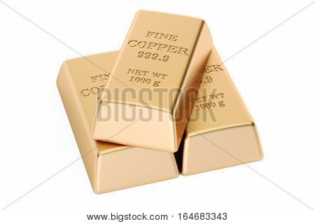 set of copper ingots 3D rendering isolated on white background