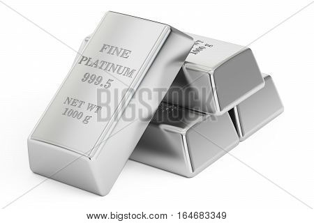 set of Platinum bars 3D rendering isolated on white background