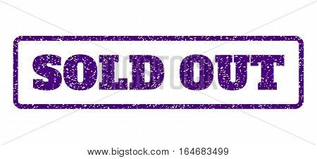 Indigo Blue rubber seal stamp with Sold Out text. Vector caption inside rounded rectangular frame. Grunge design and dust texture for watermark labels. Horisontal sign on a white background.