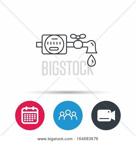Water counter icon. Pipe with water drop sign. Group of people, video cam and calendar icons. Vector