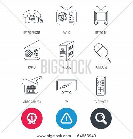 Achievement and search magnifier signs. Radio, TV remote and video camera icons. Retro phone, PC case and mouse linear signs. Hazard attention icon. Vector