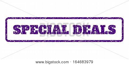 Indigo Blue rubber seal stamp with Special Deals text. Vector tag inside rounded rectangular banner. Grunge design and dust texture for watermark labels. Horisontal emblem on a white background.
