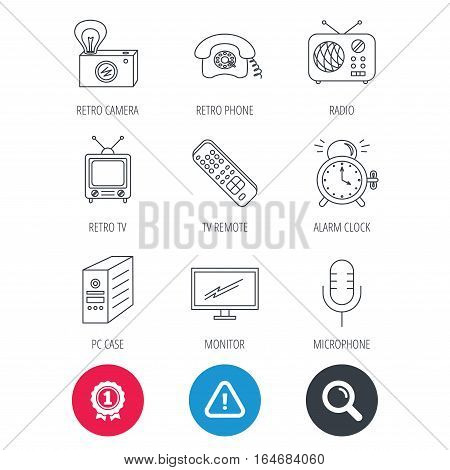 Achievement and search magnifier signs. Retro camera, radio and phone call icons. Monitor, PC case and microphone linear signs. TV remote, alarm clock icons. Hazard attention icon. Vector