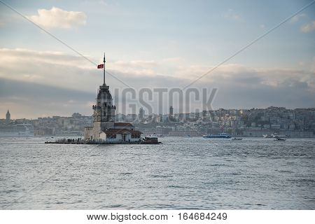 Maiden's Tower in Istanbul, Turkey, on the Bosphorus River.