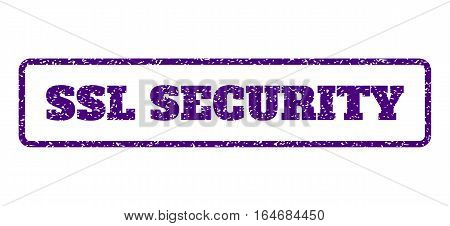 Indigo Blue rubber seal stamp with SSL Security text. Vector caption inside rounded rectangular banner. Grunge design and dust texture for watermark labels. Horisontal sign on a white background.