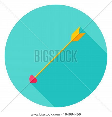 Love Arrow Circle Icon. Flat Design Vector Illustration with Long Shadow. Happy Valentine Day Symbol.