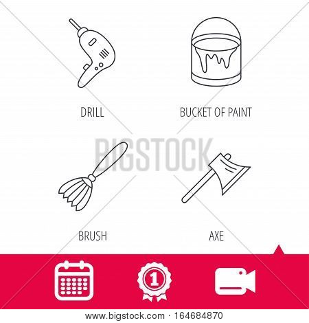 Achievement and video cam signs. Drill tool, bucket of paint and axe icons. Brush linear sign. Calendar icon. Vector